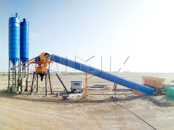 AJ60 belt type concrete batching plant