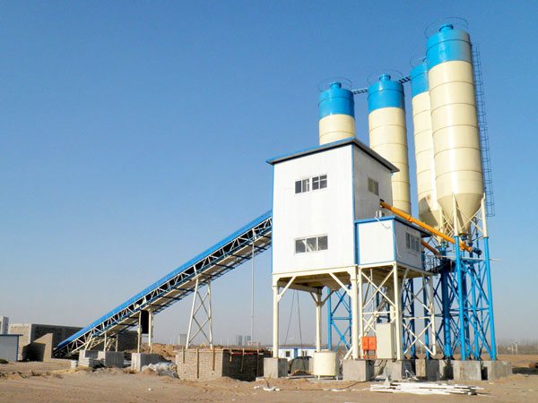 AJ120 belt type concrete batching plant