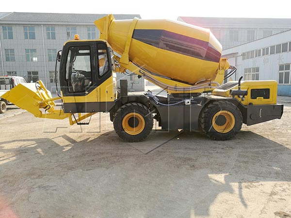 2m3 self loading concrete drum mixer