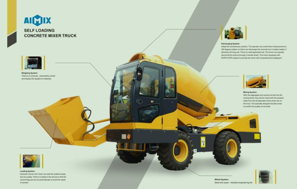 self loading concrete mixer truck structure