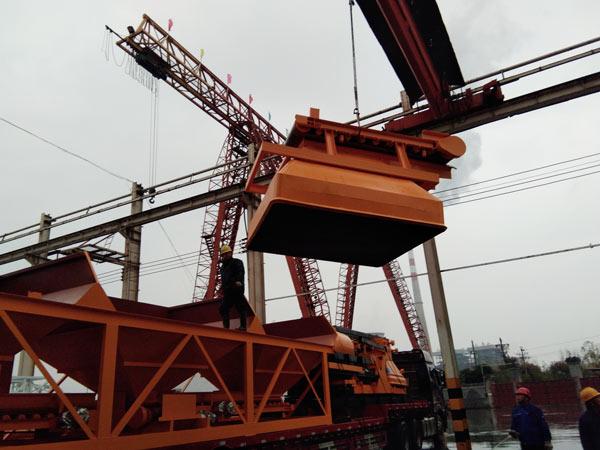 Aimix HZS75 concrete plant loading