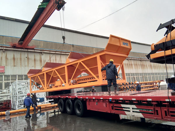 concrete batching machine loaded