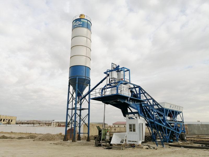 AJY35 mobile batching plant set in Uzbekistan